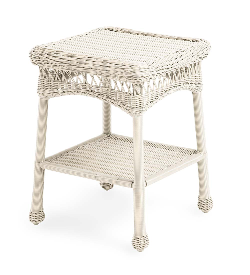 easy care wicker end table patio side table