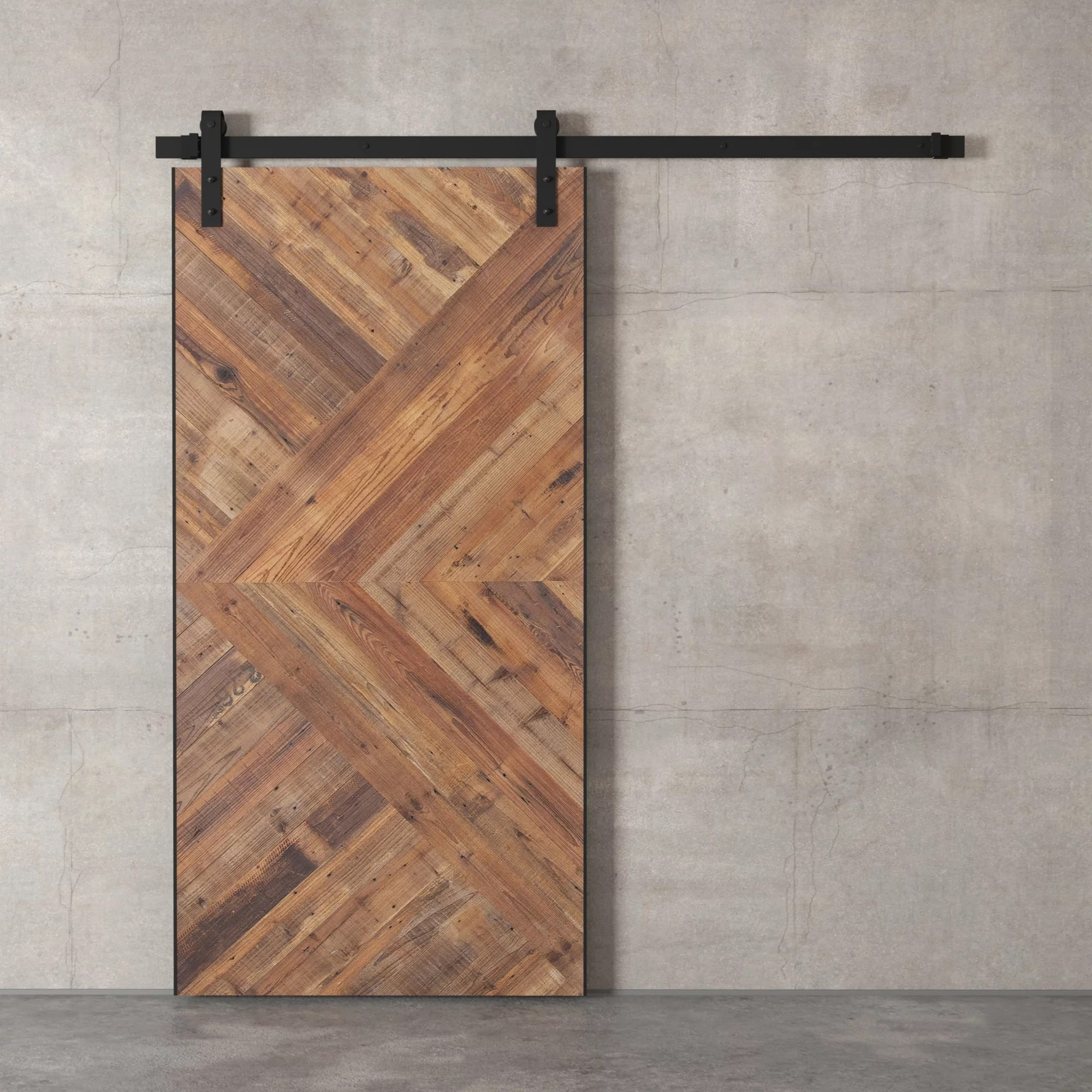 96 x 42 quot brown and silver modesto sliding wood Brown Barn Door id=78490