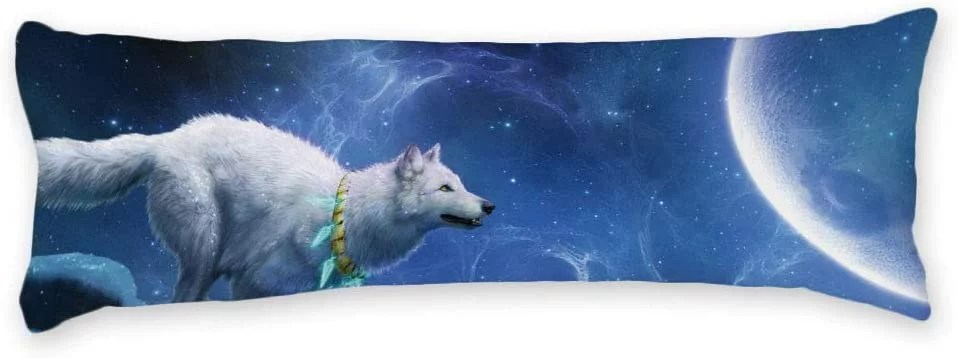 buythrow white wolf to the moon universe long body pillow case cover silky shiny satin body pillow cover custom material 20 x 54