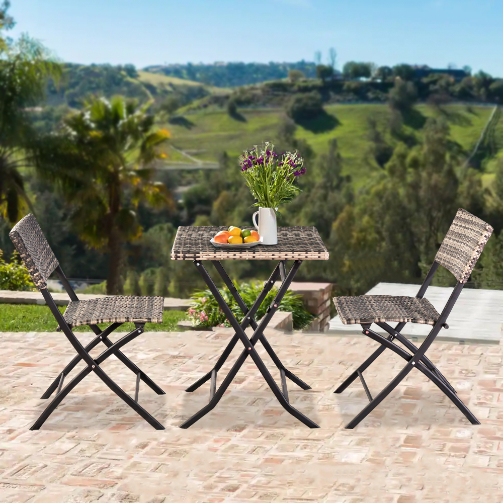 3 piece patio folding bistro set outdoor wicker conversation set with 2 chairs 1 table foldable square dining table and chair set for patio deck