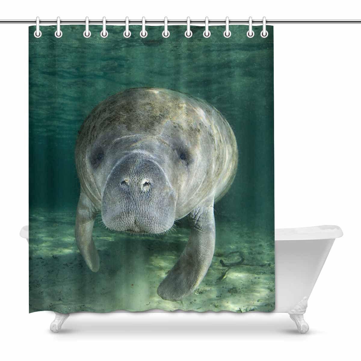 mkhert funny cute manatee wild animal waterproof polyester fabric shower curtain bathroom sets home decor 60x72 inch walmart com