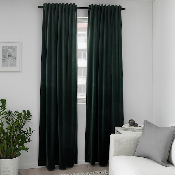 ikea sanela velvet curtains room darkening 55 x 98 dark green 2 panels 1 pair