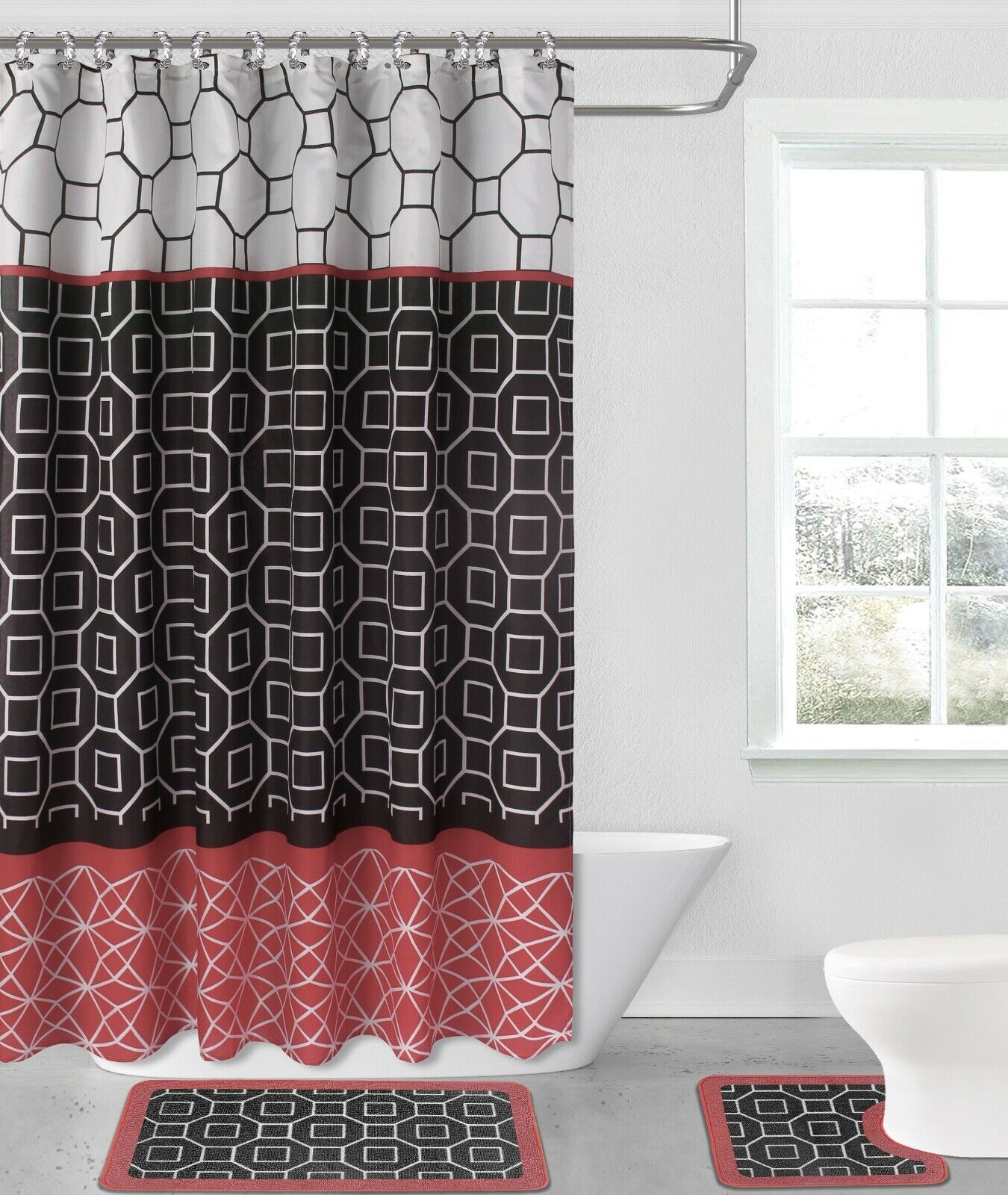 diamond red black 15 piece hotel bathroom sets 2 non slip bath mats rugs fabric shower curtain 12 hooks