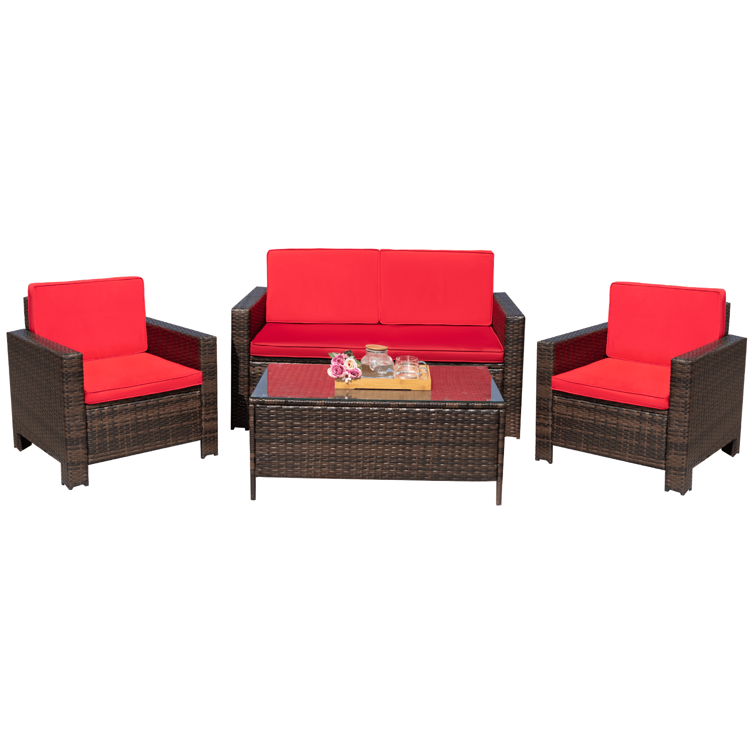 walnew 4 piece wicker outdoor patio conversation set with cushions brown red
