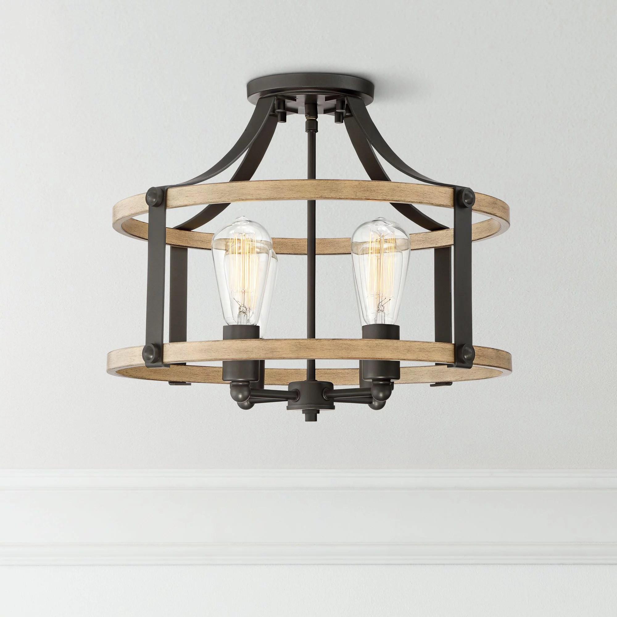 franklin iron works rustic farmhouse ceiling light semi flush mount fixture faux wood black 18 wide 4 light for bedroom kitchen