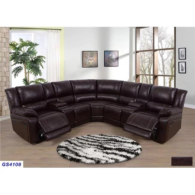 lifestyle furniture lsfgs4108 3 piece recliner sectional sofa set with 2 cup holder console with lift up storage bonded leather brown