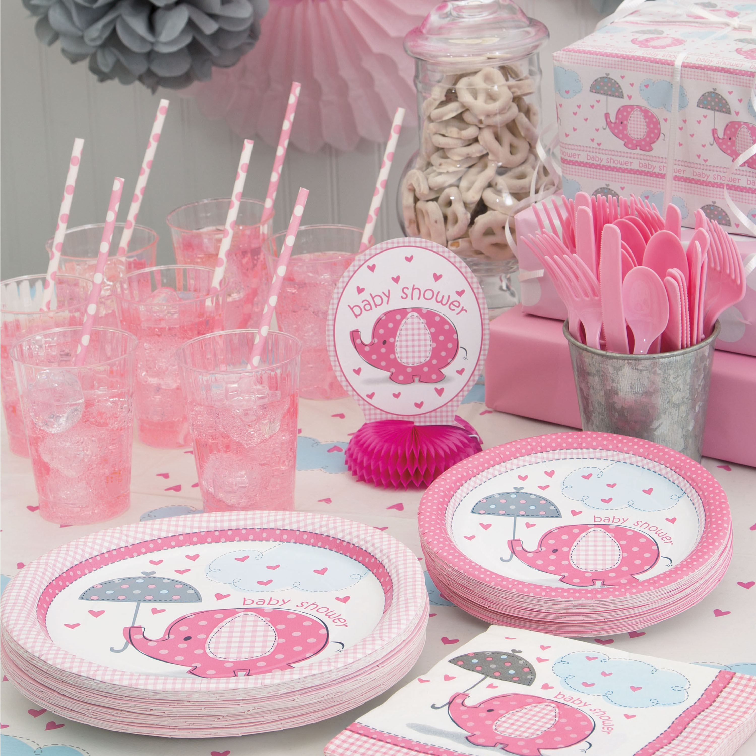 Plates Shower Elephant Pink Baby