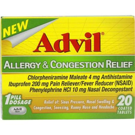 Advil Allergy & Congestion Relief Tablets 20 Tablets (Pack of 2 ...