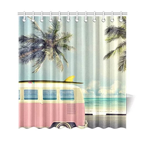 gckg tropical beach shower curtain vintage car palm tree polyester fabric shower curtain bathroom sets 66x72 inches