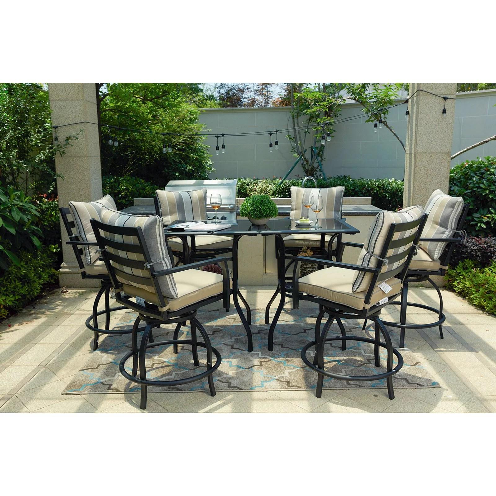 every season steel 8 piece swivel bar height patio dining set