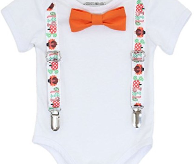 Noahs Boytique Baby Boys Thanksgiving Outfit Gobble Suspenders Bow Tie Newborn