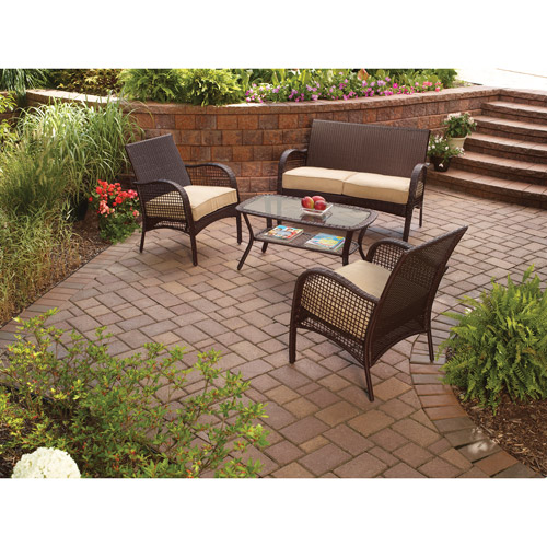 walmart wicker patio furniture sets Mainstays Wicker 4-Piece Patio Conversation Set, Seats 4