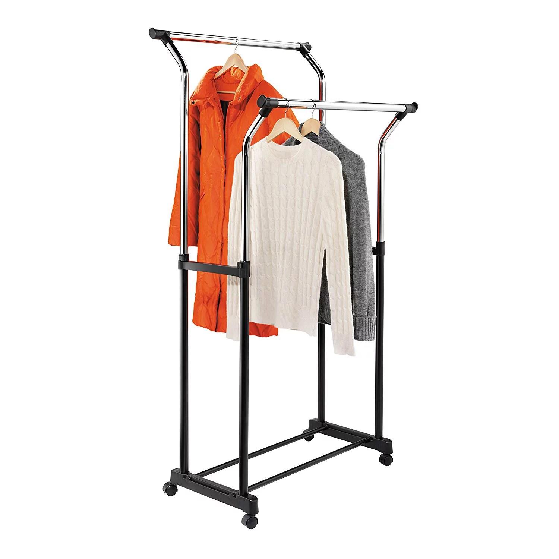 honey can do heavy duty double hanging garment rack black chrome