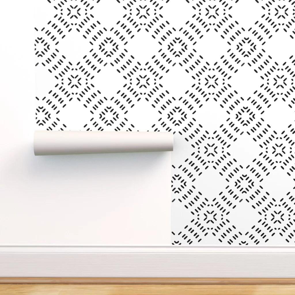 peel and stick removable wallpaper modern farmhouse tiles moroccan tile black walmart com
