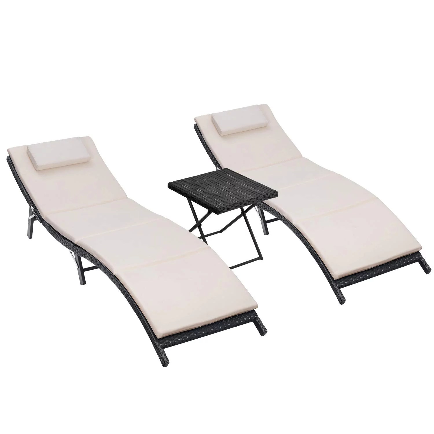 walnew 3 pcs patio furniture outdoor lounge chairs folding lawn poolside patio chaise lounge sets pe rattan chaise lounges with side table and beige