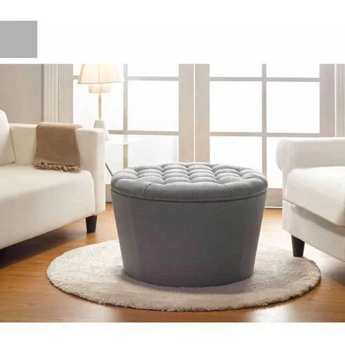 better homes and gardens round tufted storage ottoman with nailheads gray
