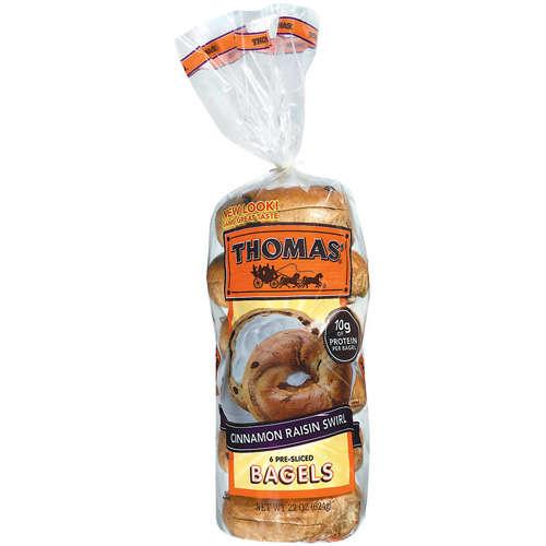 Thomas39 PreSliced Cinnamon Raisin Swirl Bagels 6ct