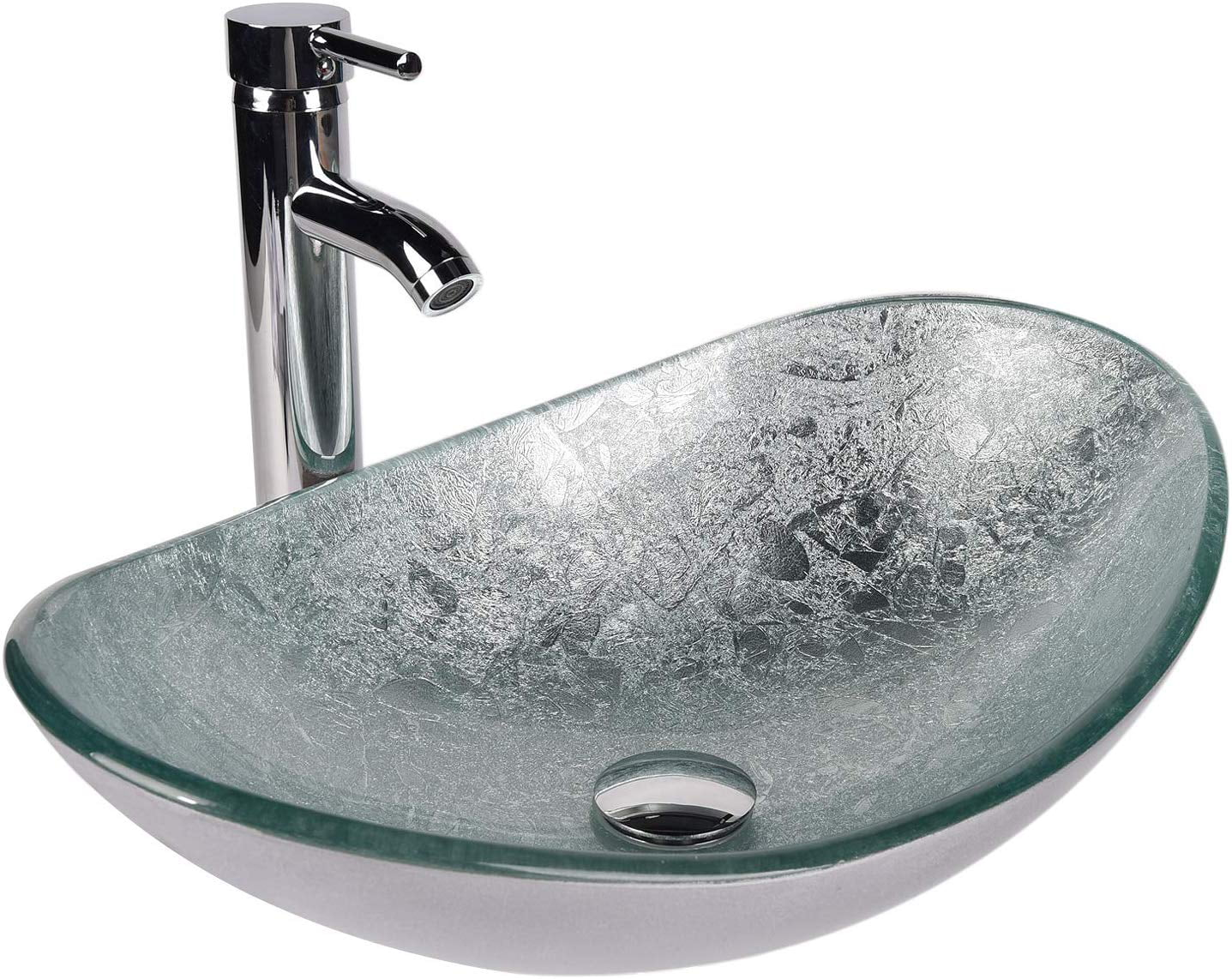 elecwish bathroom sink and faucet combo artistic tempered glass vessel sink basin washing bowl set cabinet countertop sink with chorme faucet pop up