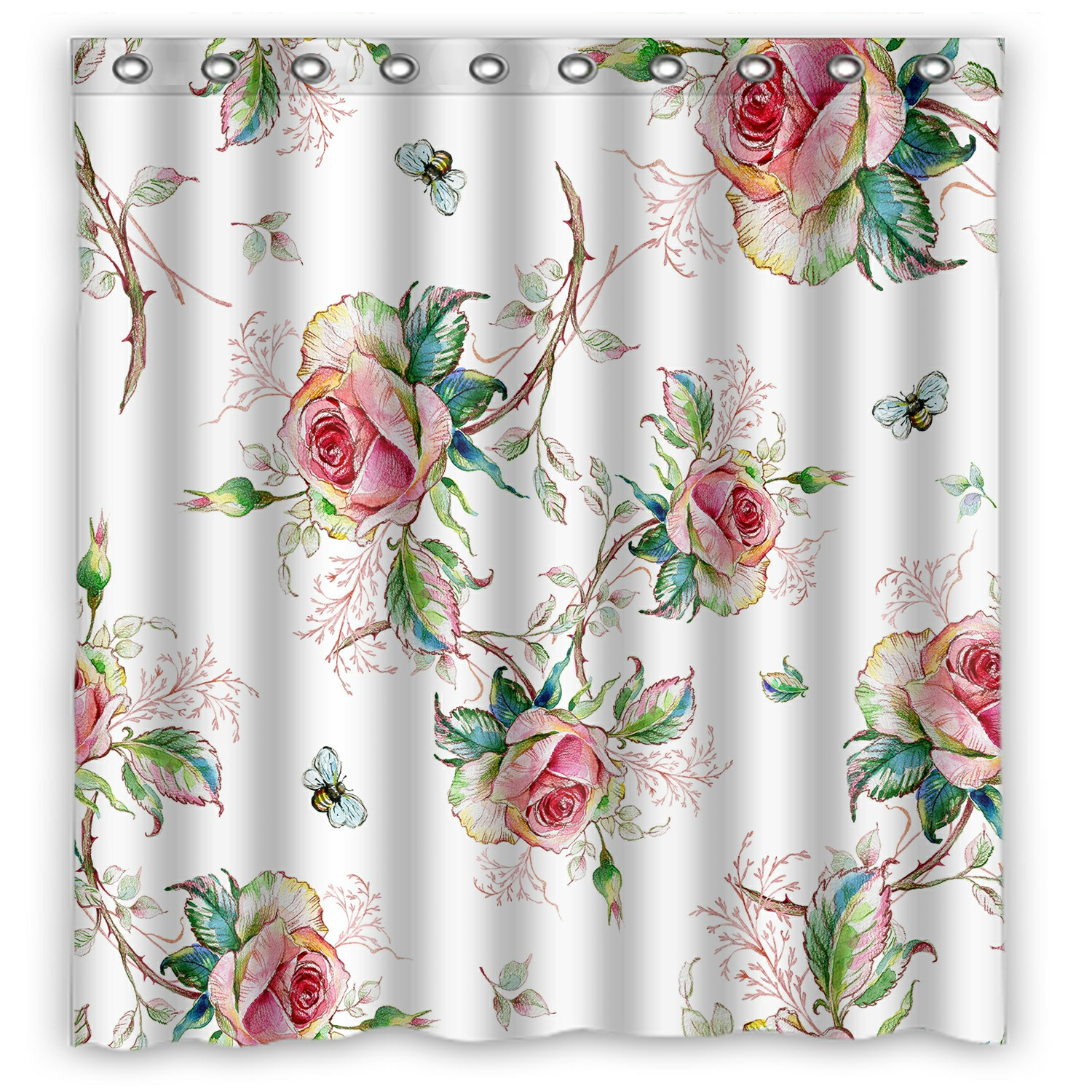 eczjnt rose pattern bumble bee shower curtain and hooks for home decor 66x72 inch walmart com