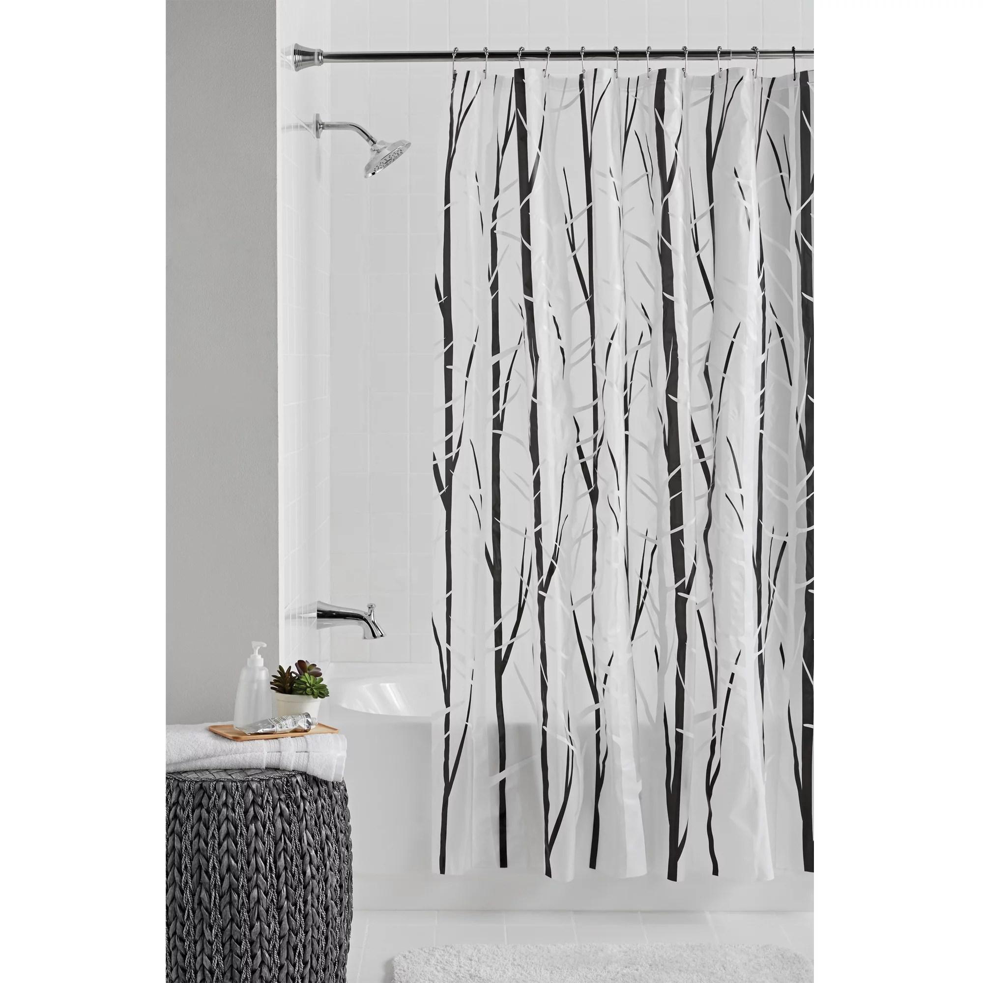 mainstays woodland 70 x 72 peva black white shower curtain or liner