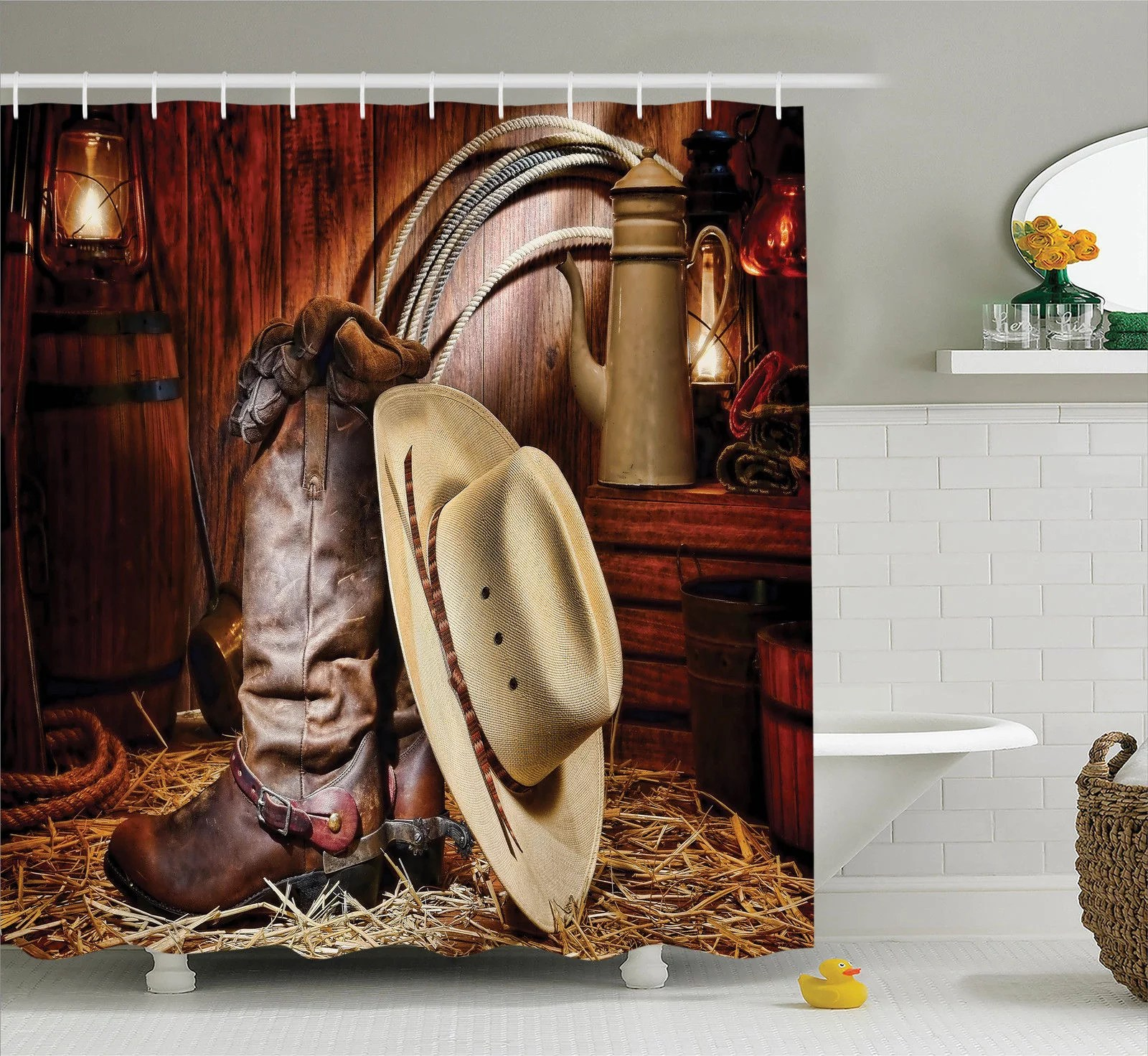 western decor shower curtain set authentic american west rodeo elements with antique ranching supplies retro art photo bathroom accessories 69w x