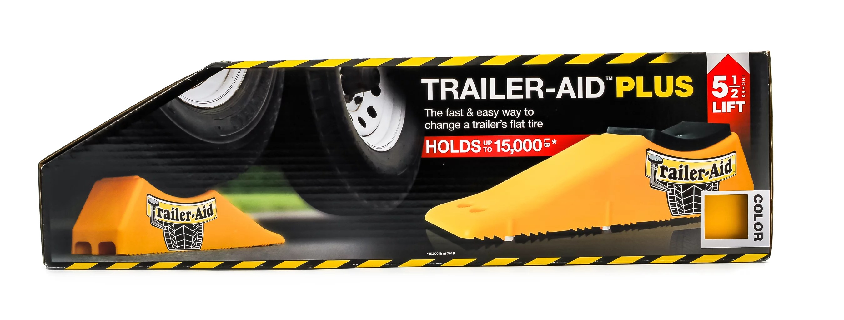 "Camco Trailer-Aid ""Plus"" Tandem Tire Changing Ramp, The Fast and Easy Way To Change A Trailer's Flat Tire, Holds up to 15,000 Pounds, 5.5 Inch Lift (Yellow)"