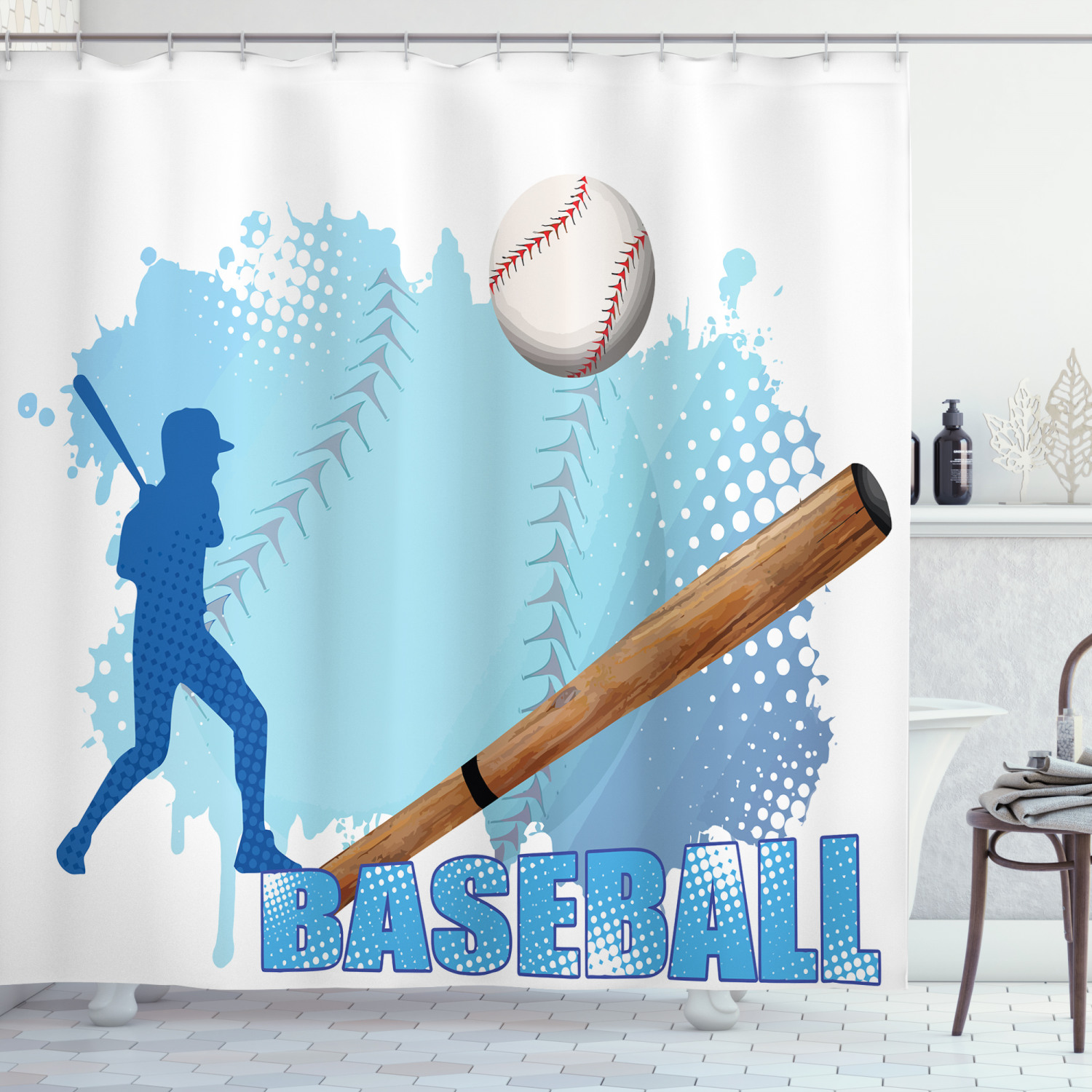 baseball shower curtain silhouette of a baseball player with basic game icons kicking with bat sports fabric bathroom set with hooks blue and