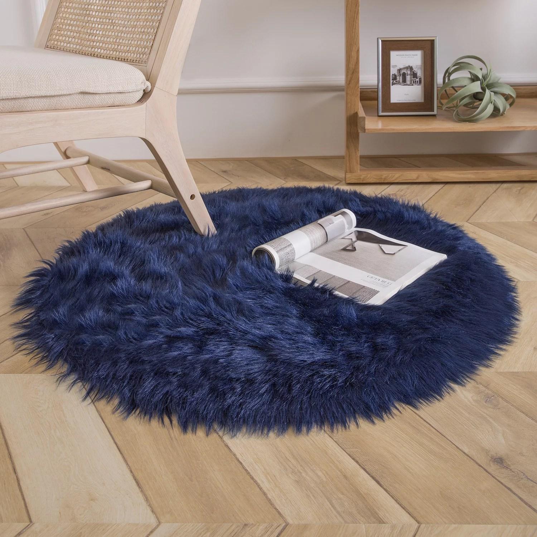 Deluxe Soft Faux Sheepskin Fur Series Decorative Indoor Area Rug 3 X 3 Feet Round Navy Blue 1 Pack Walmart Com Walmart Com