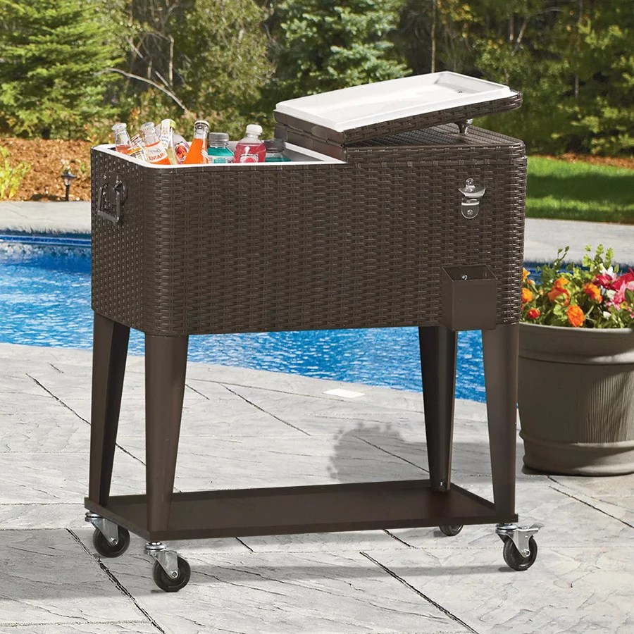 clevr outdoor patio 80 quart party portable rolling cooler wheeled ice chest with bottle opener brown rattan walmart com