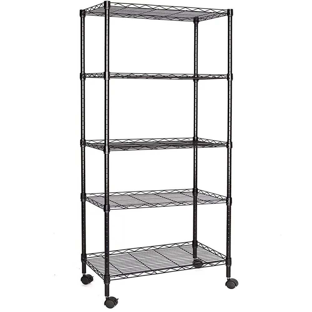 5 shelf shelving unit with 4 casters 35 x 14 x 65 rustproof metal storage shelves heavy duty storage rack for kitchen bakers rack for keeping