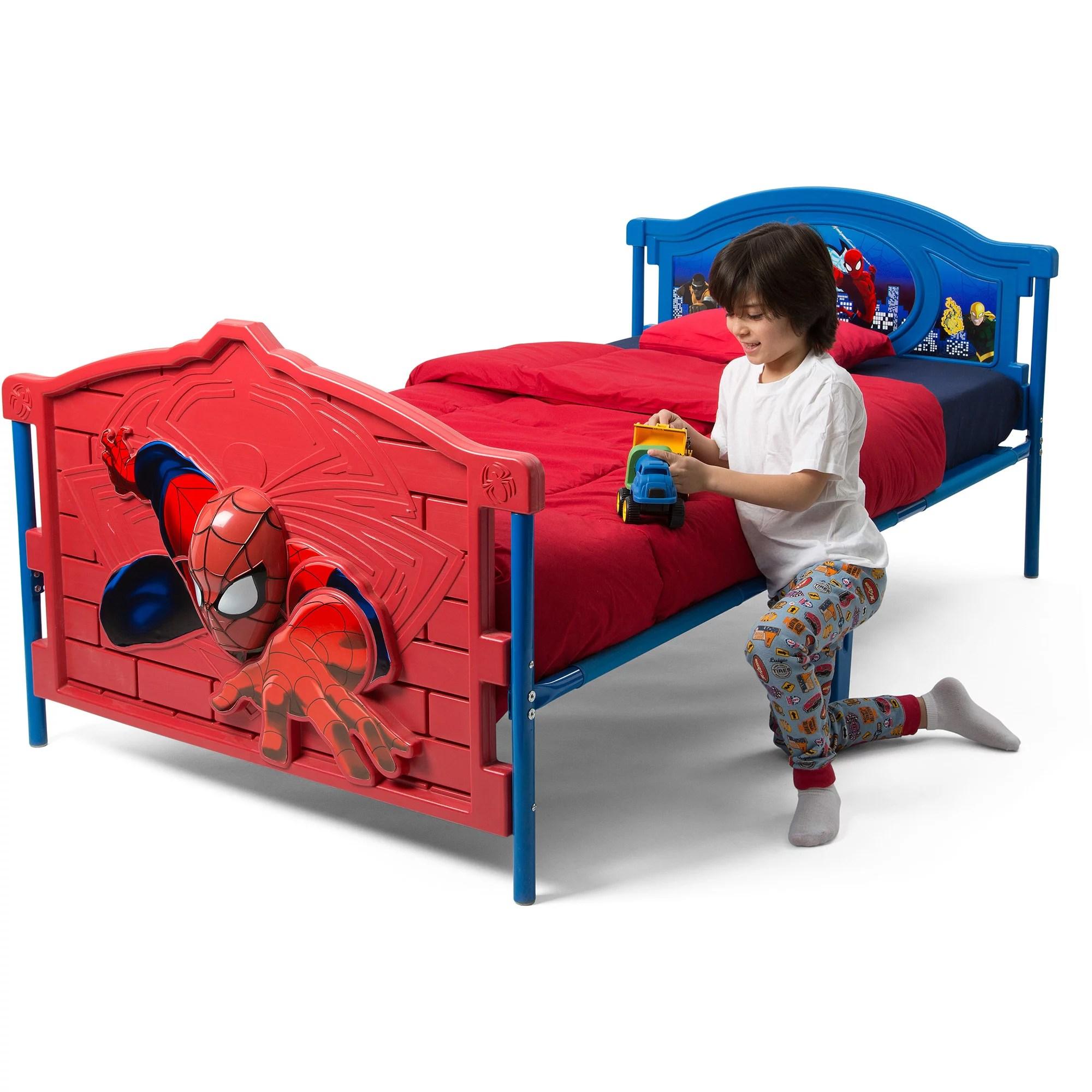 delta children marvel spider man 3d plastic twin bed red