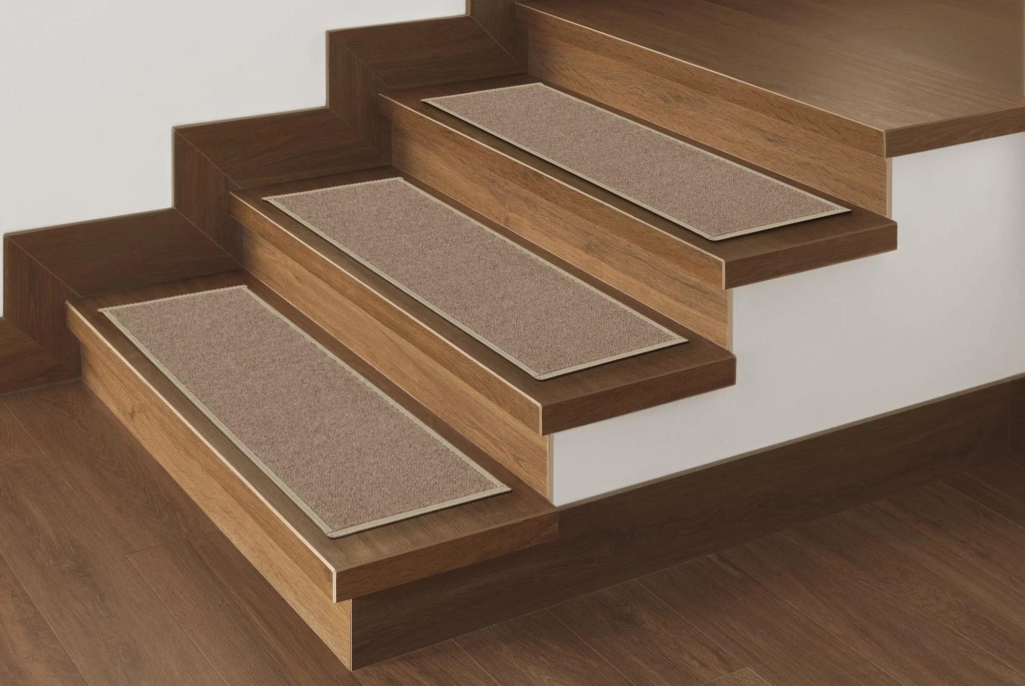 Ottomanson Non Slip Rubber Backing Stair Tread Dark Beige 8 5 X | Dark Wood Stair Treads | Timber | White Handrail | Dark Stained | Natural Wood | Wood Finish
