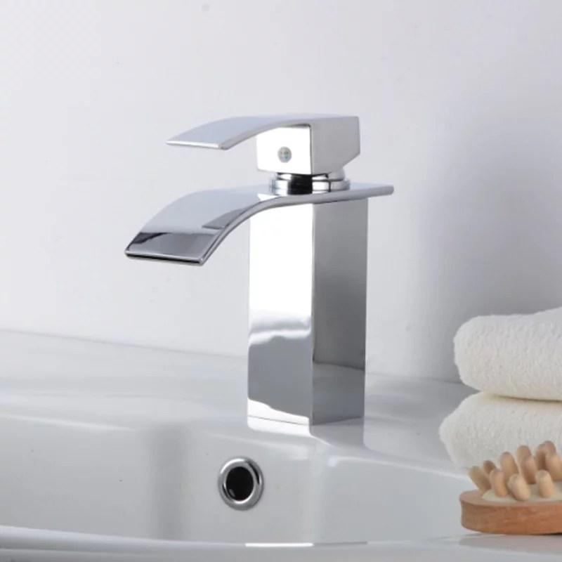 jeobest bathroom faucet single handle bathroom sink faucet brass single handle single hole waterfall mixer faucet tap basin hot cold water bathroom