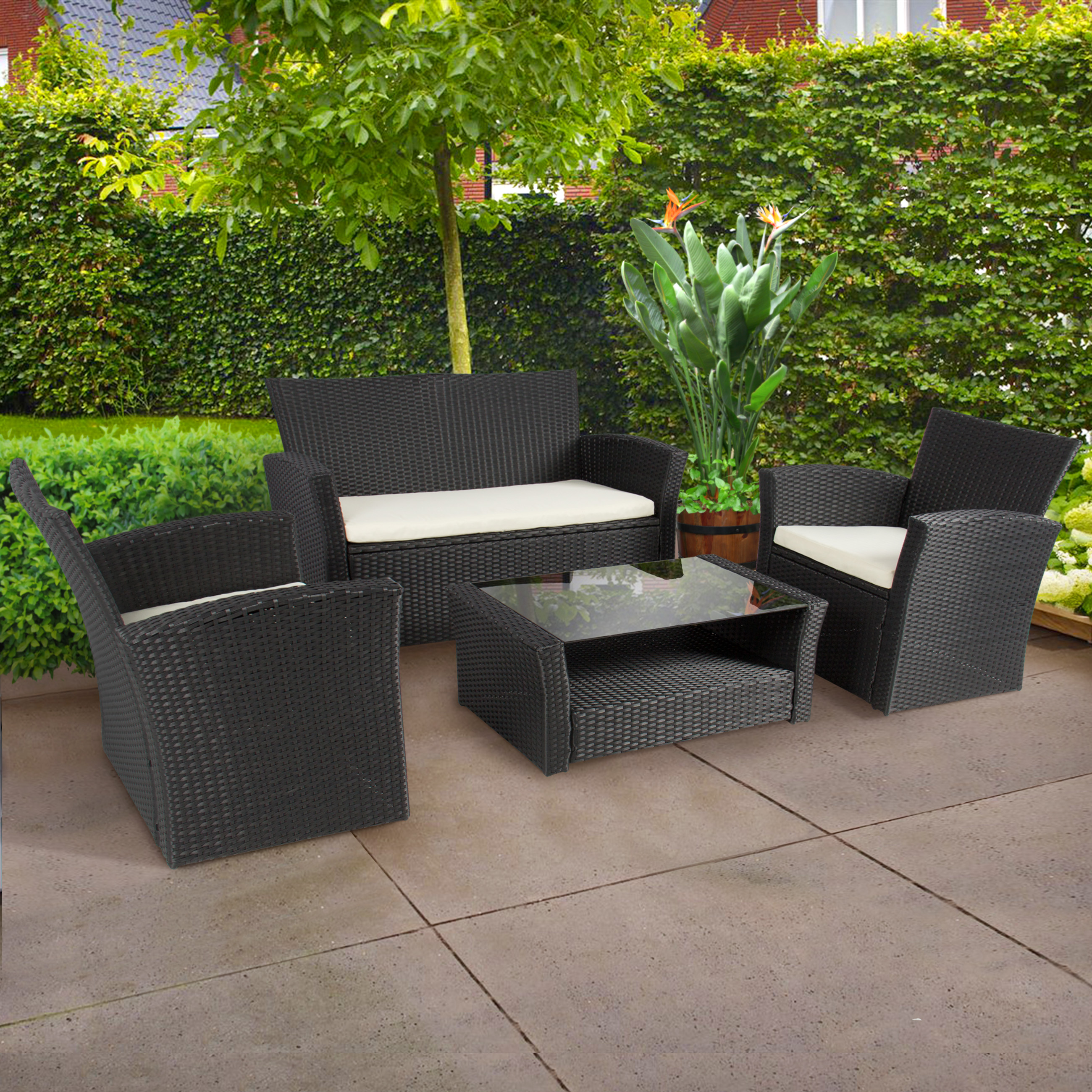 outdoor wicker patio furniture sets 4pc Outdoor Patio Garden Furniture Wicker Rattan Sofa Set