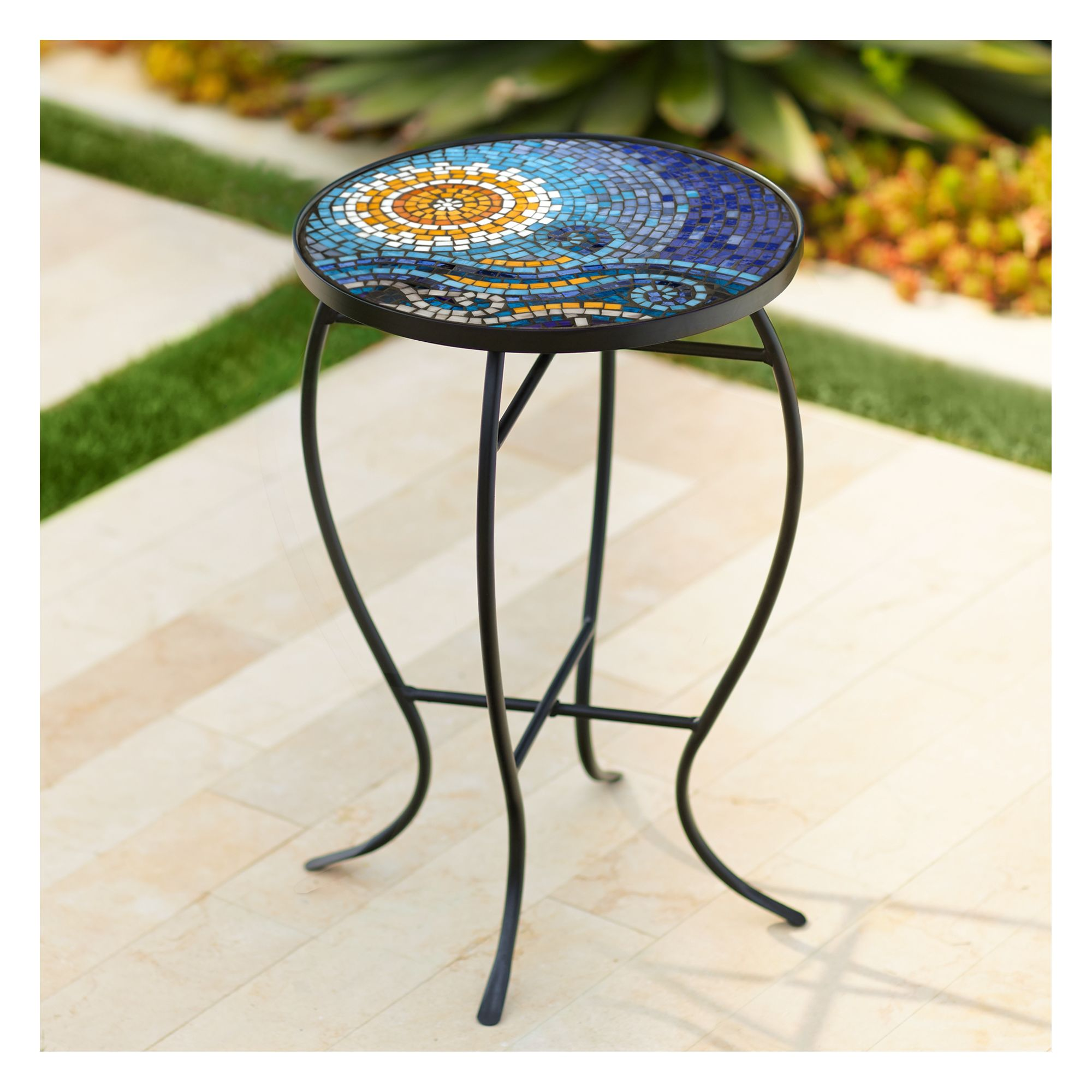 Teal Island Designs Ocean Mosaic Black Iron Outdoor Accent ... on Outdoor Living Iron Mosaic id=94901