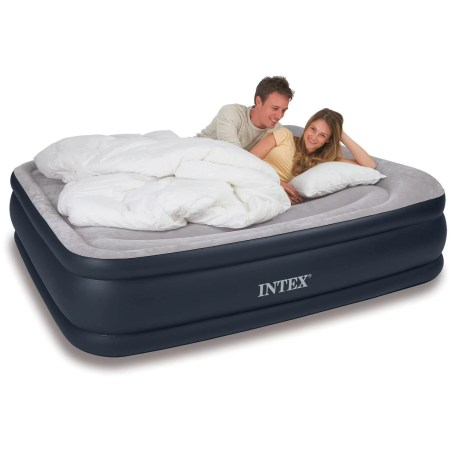 Intex Deluxe Raised Pillow Rest Airbed Mattress With Built In Pump Twin Full