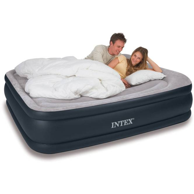 Intex Deluxe Raised Pillow Rest Airbed Mattress With Built In Pump Twin Full And Queen Sizes Available