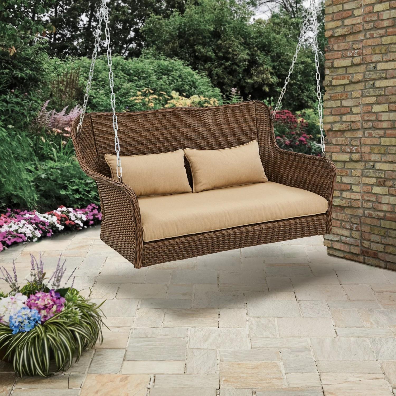 better homes gardens camrose farmhouse wicker porch swing