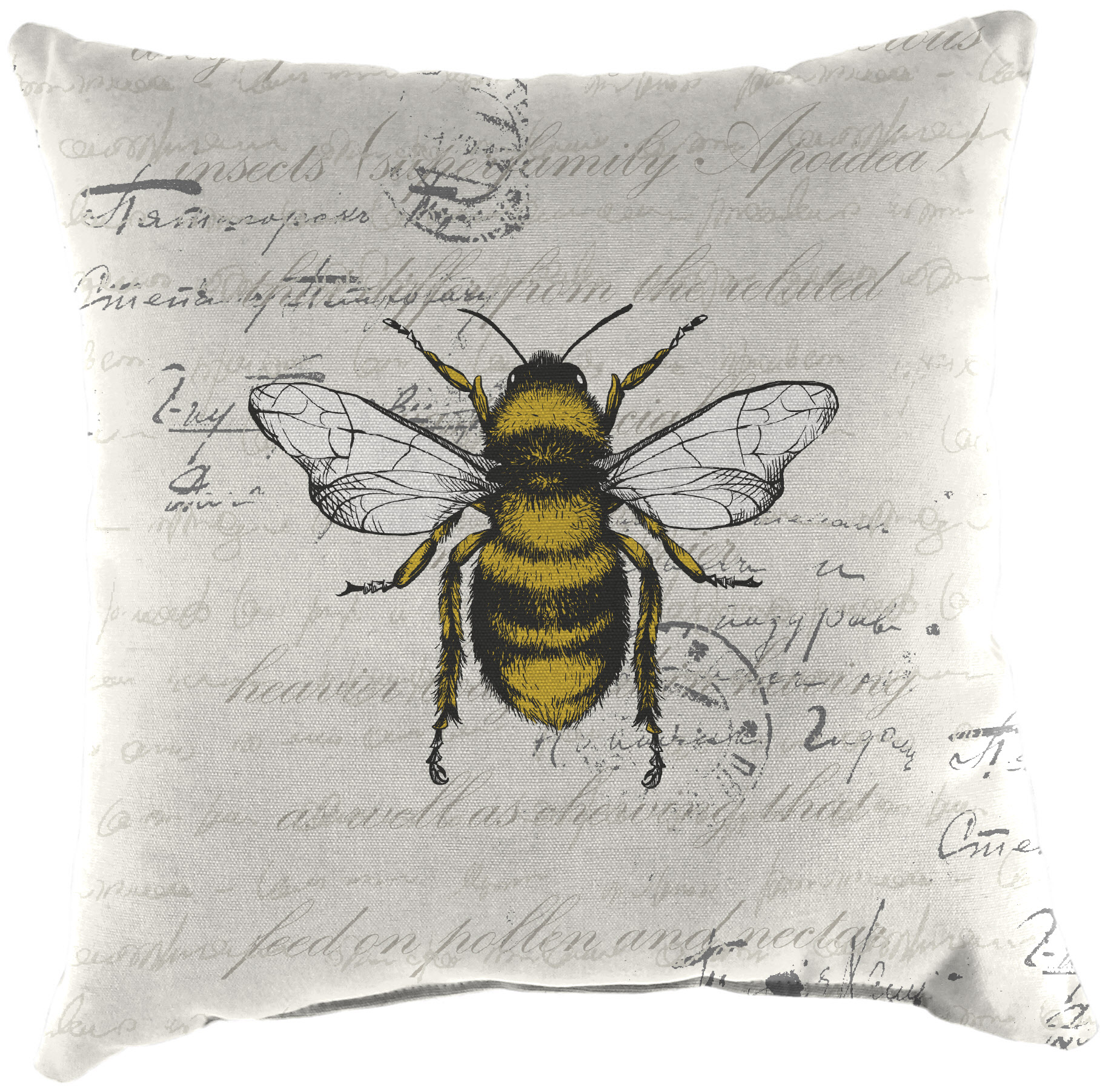 mainstays bee script outdoor square toss pillow 16 l x 16 w yellow