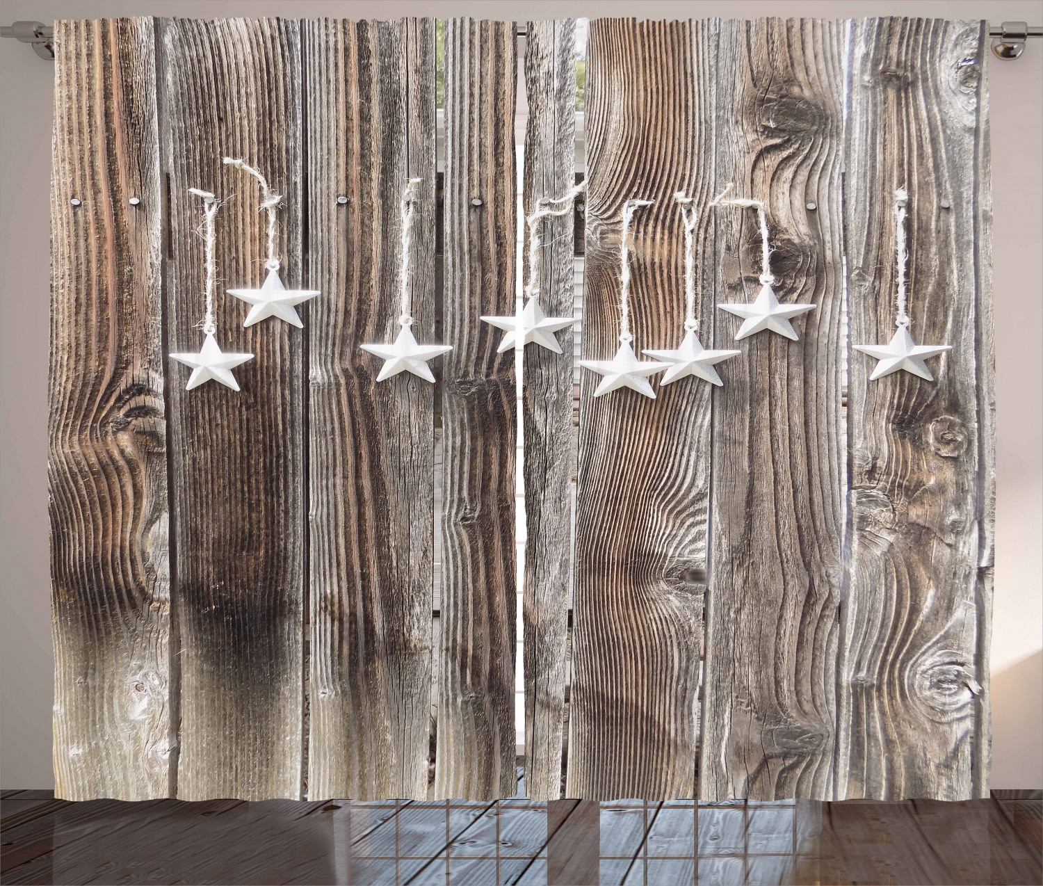 primitive country curtains 2 panels set silver colored ornate stars on wooden rustic fence cabin design print window drapes for living room bedroom