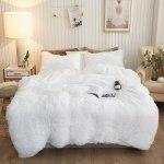 Plush Shaggy Duvet Cover Set Luxury Ultra Soft Crystal Velvet Bedding Sets 3 Pieces 1 Faux Fur Duvet Cover 2 Faux Fur Pillowcases Zipper Closure Queen White Walmart Com Walmart Com