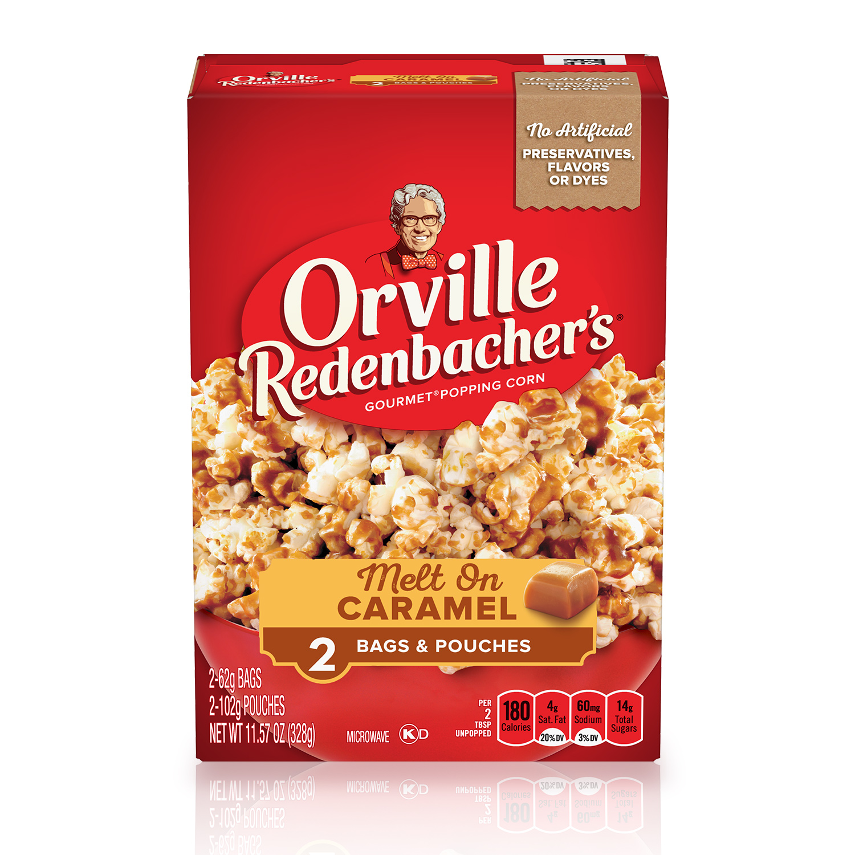 orville redenbacher s melt on caramel microwave popcorn caramel corn 2 19 oz 2 ct