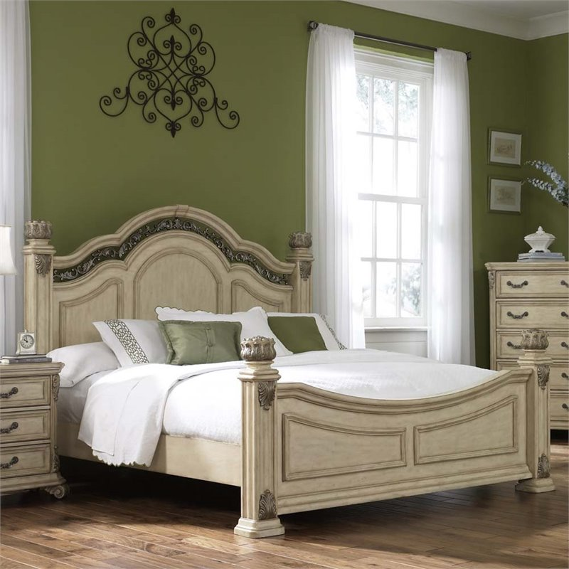 liberty furniture messina estates ii king poster bed in antique ivory
