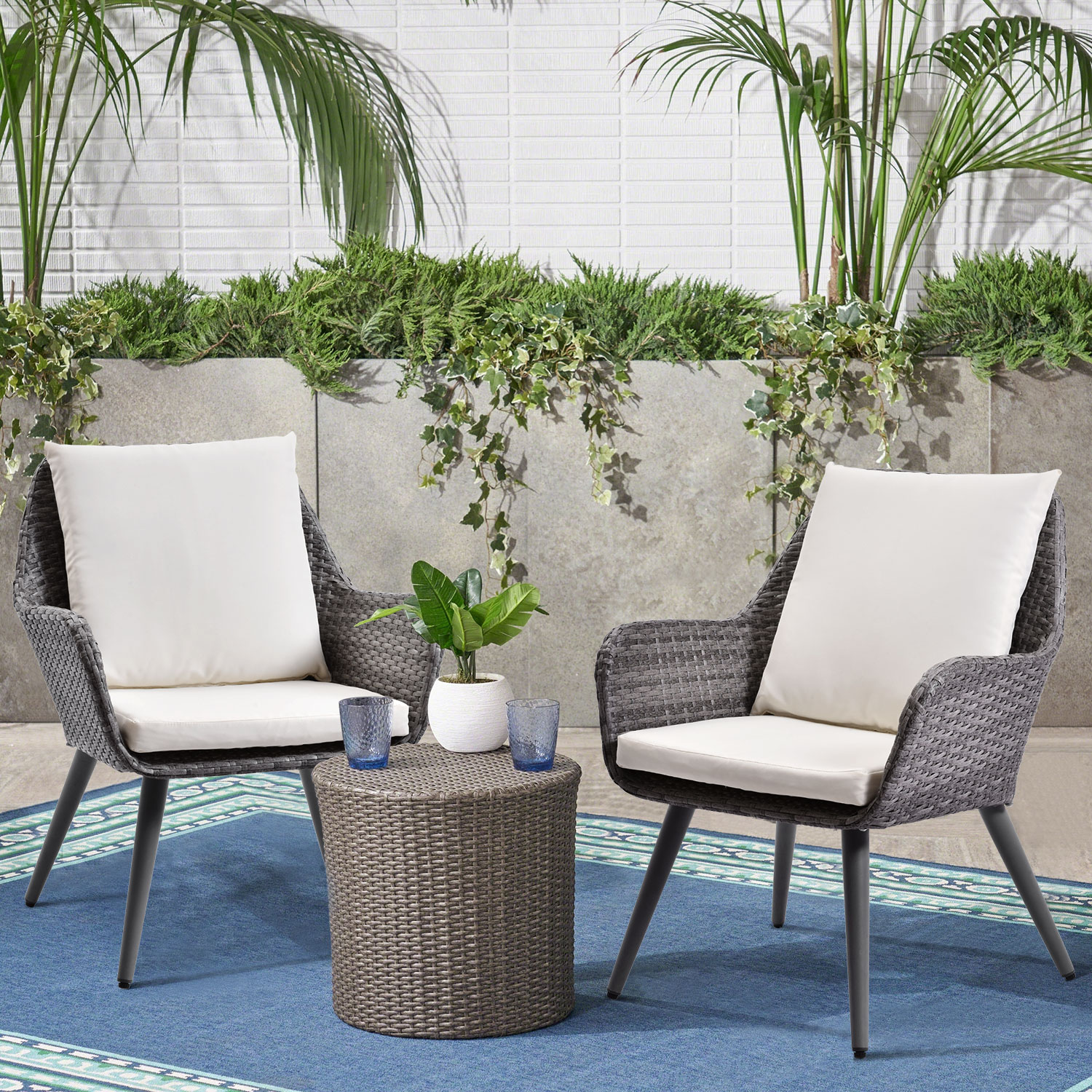 Outdoor Patio Wicker Sofa, Weather Resistant&Water proof ... on Outdoor Living Wicker  id=88191