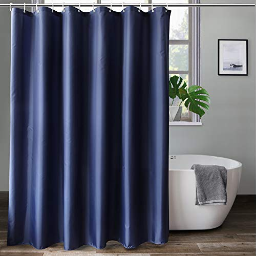aoohome extra long 72x78 inch shower liner fabric solid color shower curtain liner with hooks weighted hem waterproof navy blue