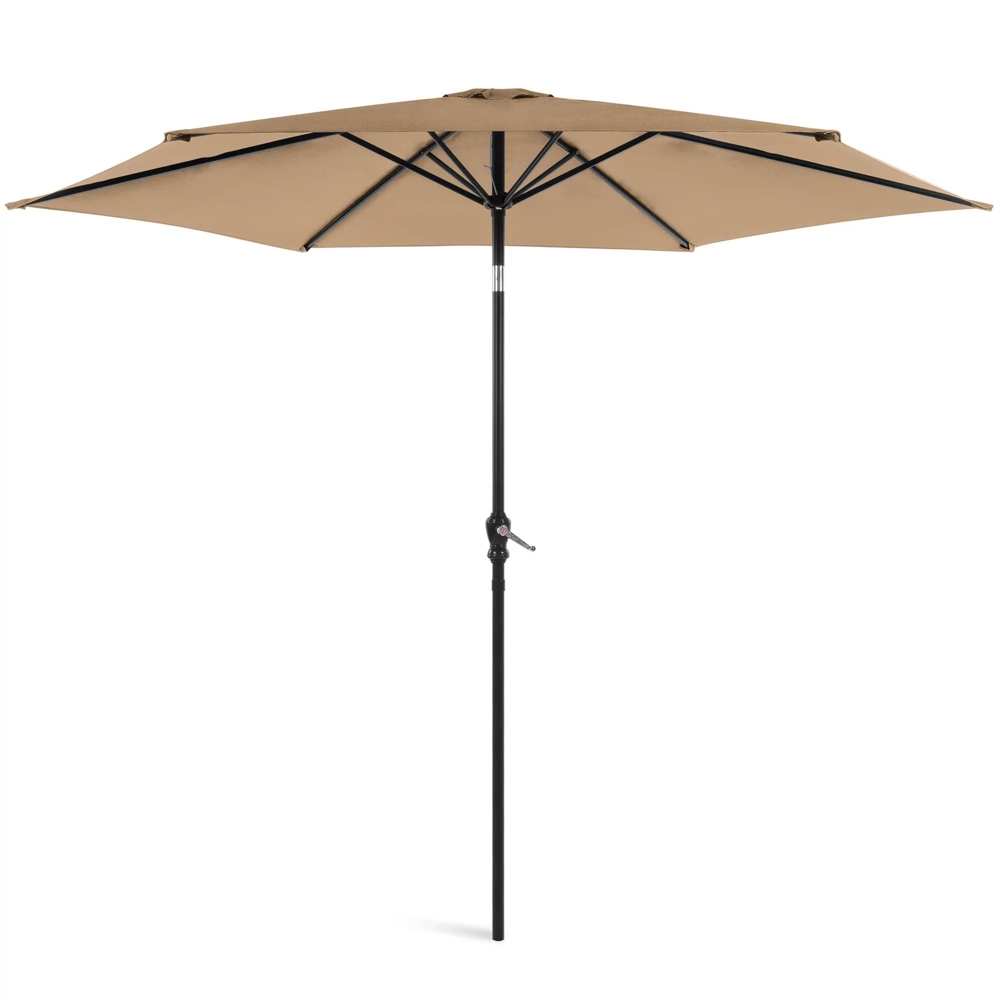 best choice products 10ft outdoor steel market patio umbrella w crank tilt push button 6 ribs tan