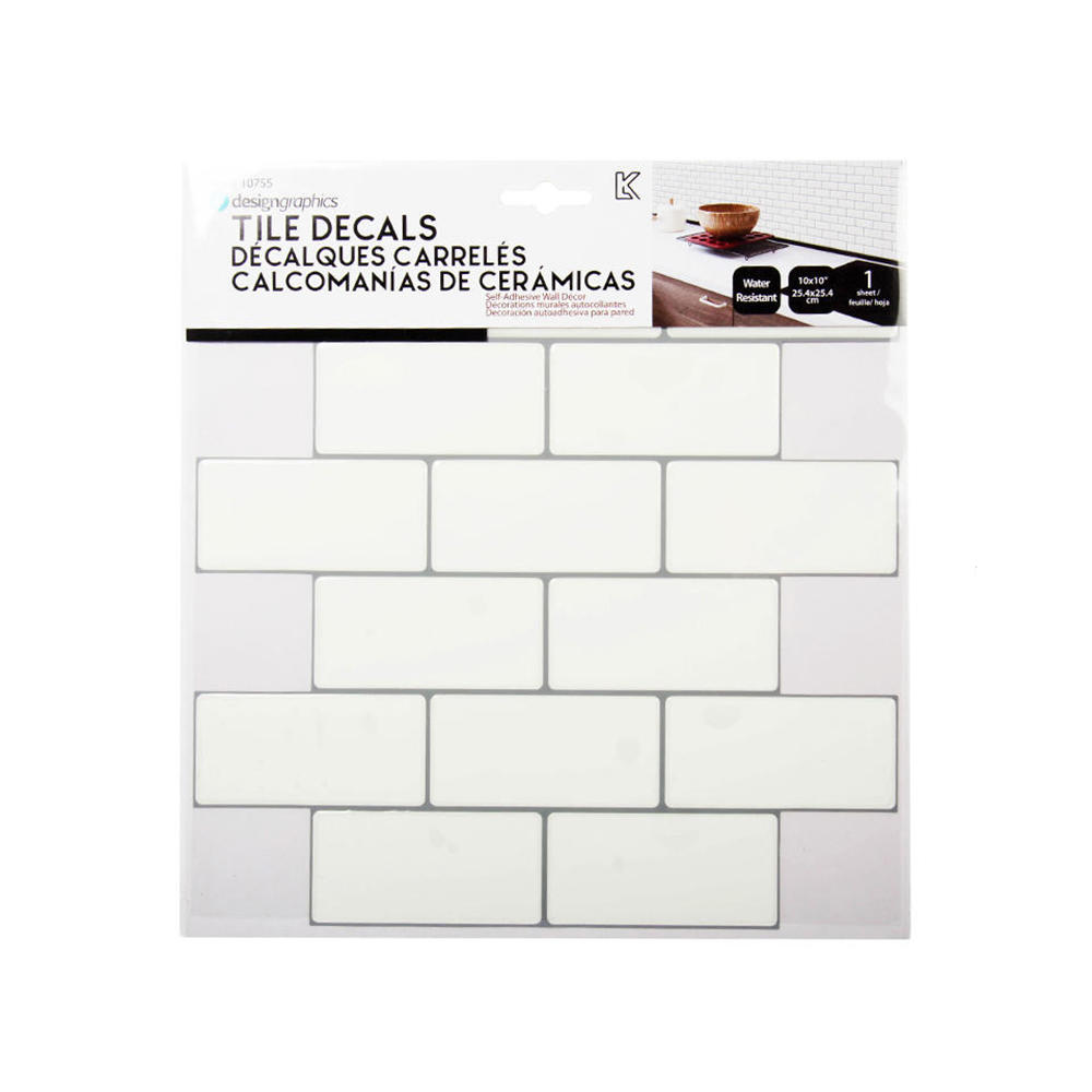 peel and stick self adhesive tile wall decals subway tile white grey 10 x 10
