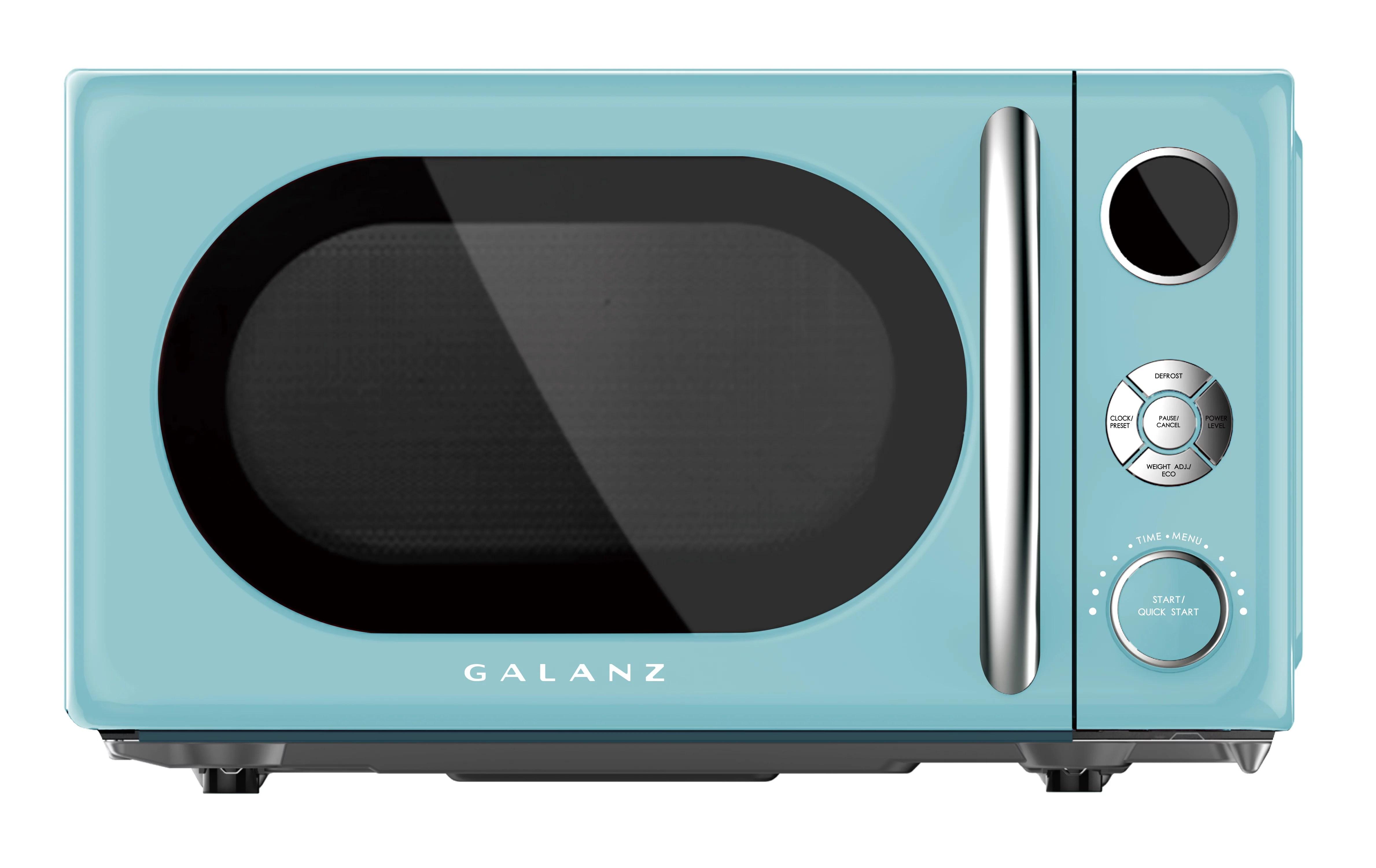 galanz glcmka07ber 07 0 7 cu ft retro countertop microwave 700w blue walmart com