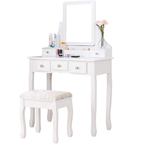 vanity table makeup desk w square mirror women girls vanity set with cushioned stool 5 drawers 3 removable dividers bedroom makeup table white