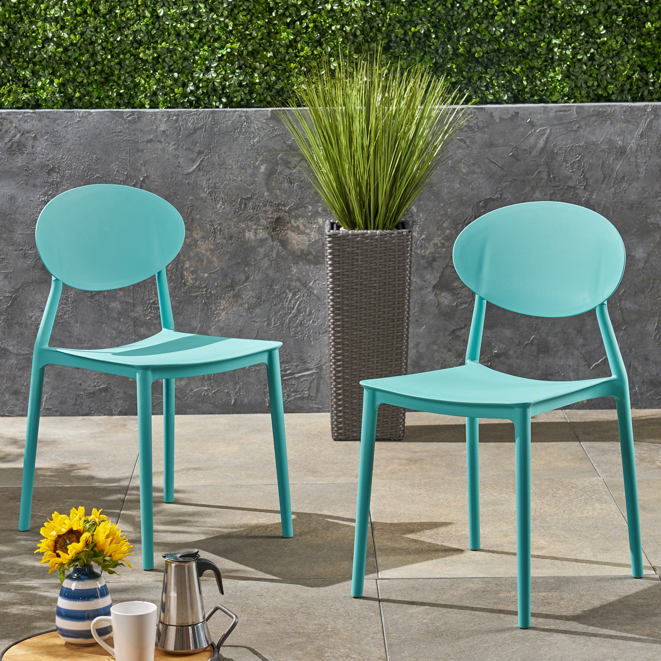 landry outdoor plastic chairs set of 2 teal